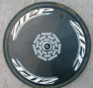 Zipp rear weighted disc wheel.