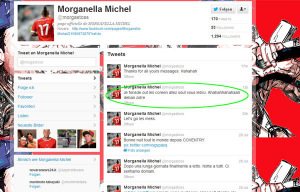 The offending comment on Michel Morganella's Twitter page. He has since deleted his account
