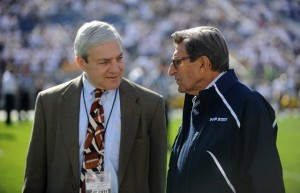 Former Penn State University President Graham Spanier (left) and former Head Football Coach Joe Paterno