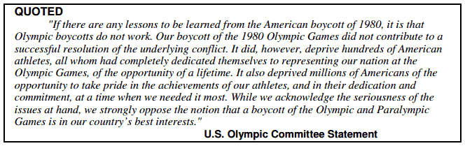 Olympic Boycotts Do Not Work