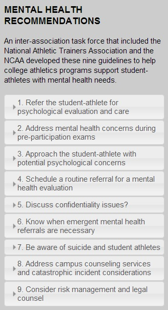 New Mental Health Recommendations Made for Student-Athletes