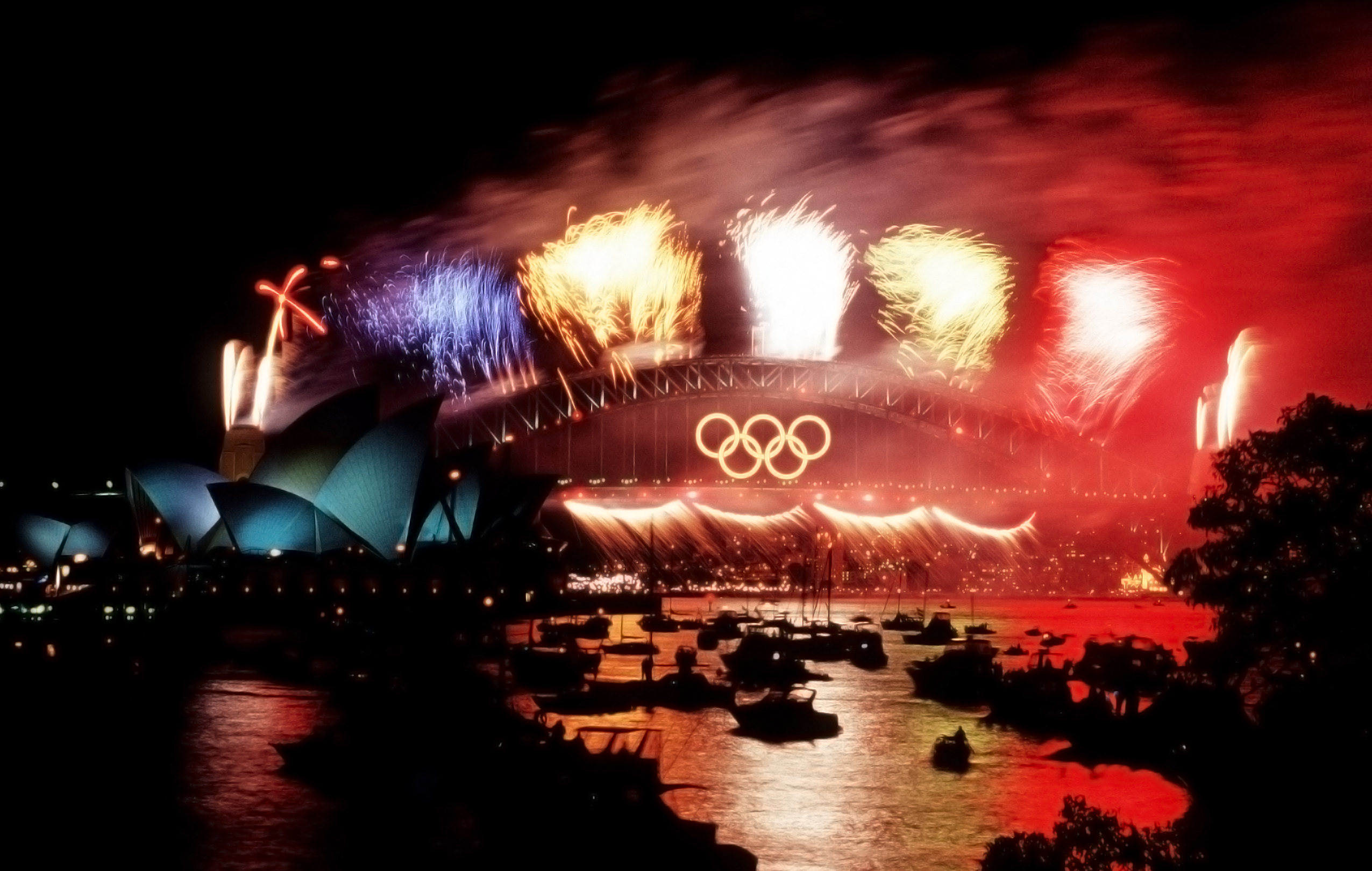 Fireworks at the Sydney Harbour Bridge during the Sydney Olympics in 2000. By David Shapinsky from Washington, D.C., United States - Syndey Olympic Fireworks During Closing Ceremonies by Robert A. Whitehead, USAF, October 2000 (DOD 001001-F-8217W-002), Public Domain, https://commons.wikimedia.org/w/index.php?curid=2703559