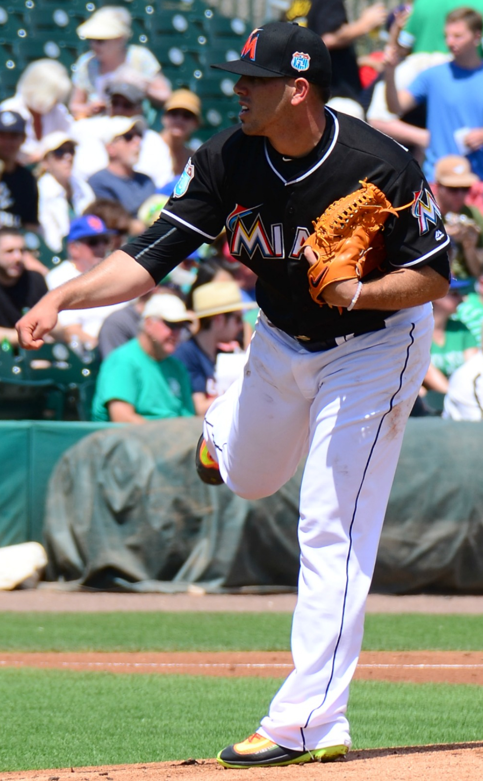 "Fernández pitching for the Miami Marlins in 2016 spring training. By slgckgc on Flickr (Original version)UCinternational (Crop) - Originally posted to Flickr as ""Jose Fernandea""Cropped by UCinternational, CC BY 2.0, https://commons.wikimedia.org/w/index.php?curid=47944418"