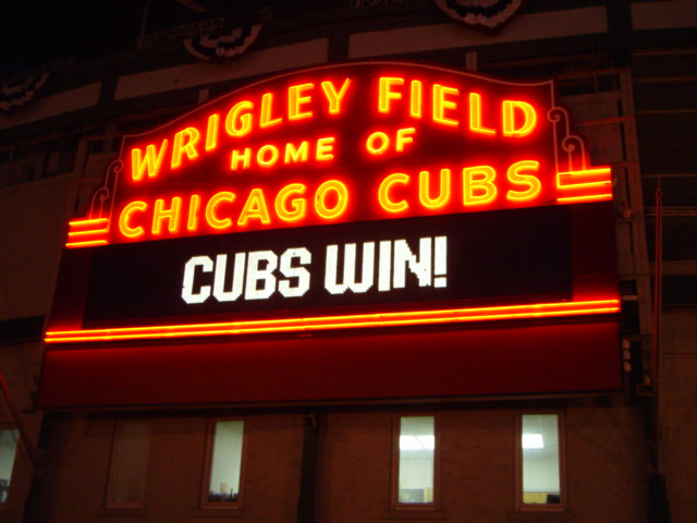 The front entrance to Wrigley Field in Chicago.