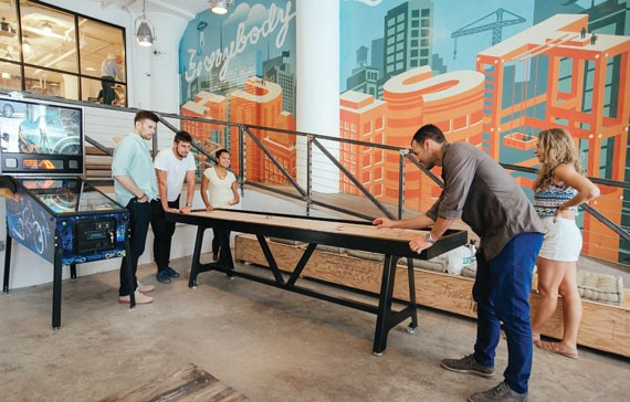 The recreation room at WeWork's space at 175 Varick Street in Soho. Photo: therealdeal.com