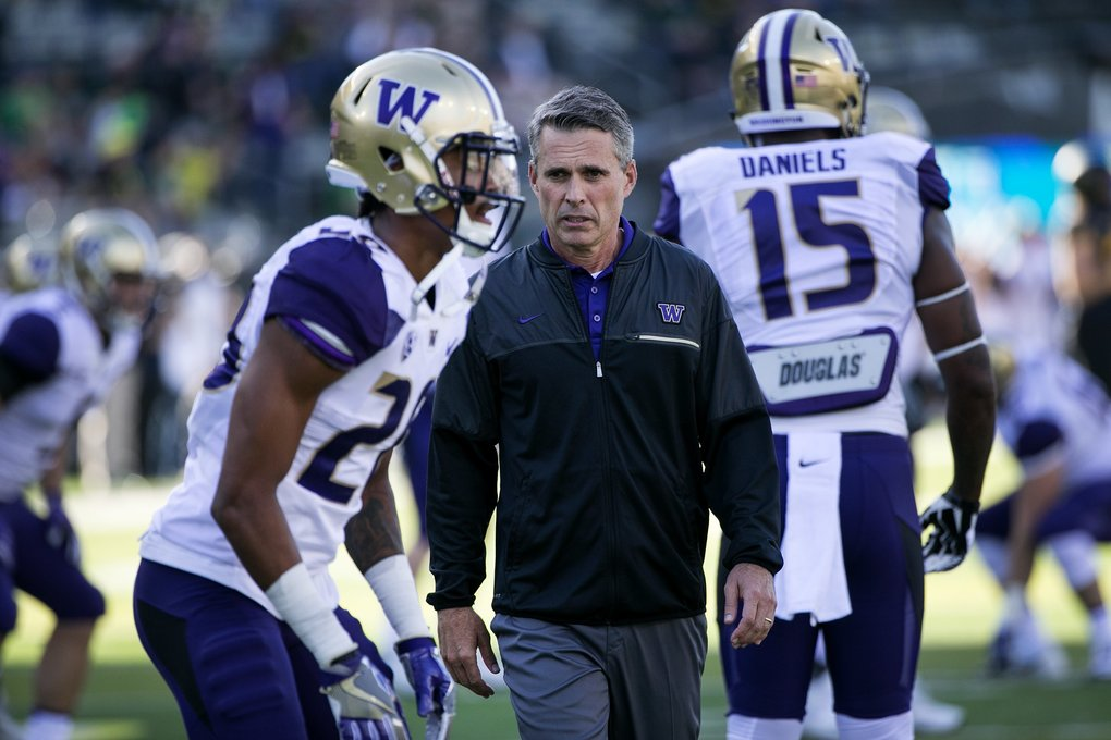 Washington Huskies head coach Chris Petersen. Photo: Johnny Andrews/The Seattle Times