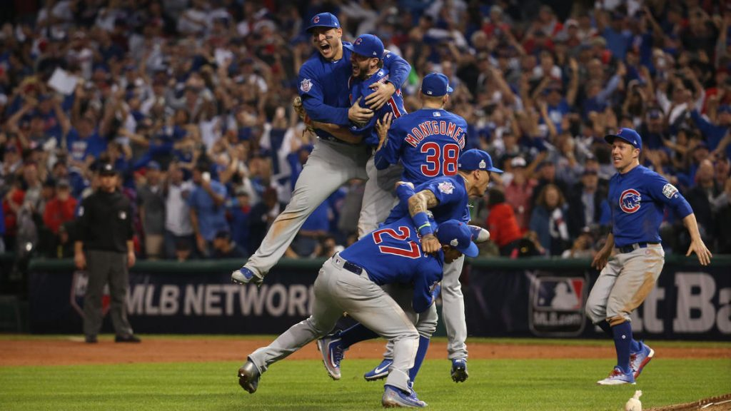 The Chicago Cubs celebrate after defeating the Cleveland Indians in Game 7 of the 2016 World Series on Wednesday. Photo: Chicago Tribune