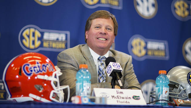 Florida head coach Jim McElwain and the Gators need to beat both Florida State and Alabama to have a chance at a berth in the College Football Playoff. Photo: David Goldman / Associated Press