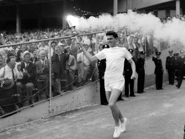 When Ron Clarke was 19 years old, he was chosen to light the Olympic Flame in the stadium during the opening ceremony of the 1956 Summer Olympics in Melbourne. Photo: theaustralian.com.au