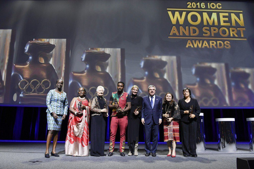 IOC President Thomas Bach with the winners of the IOC Women and Sport Trophies. Photo: International Olympic Committee