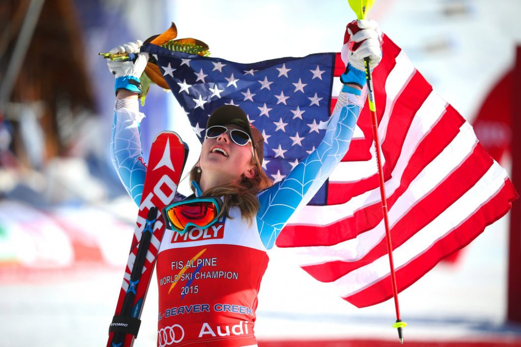 Mikaela Shiffrin celebrated her slalom gold at the 2015 Alpine world ski championships. Photo: Doug Mills/The New York Times