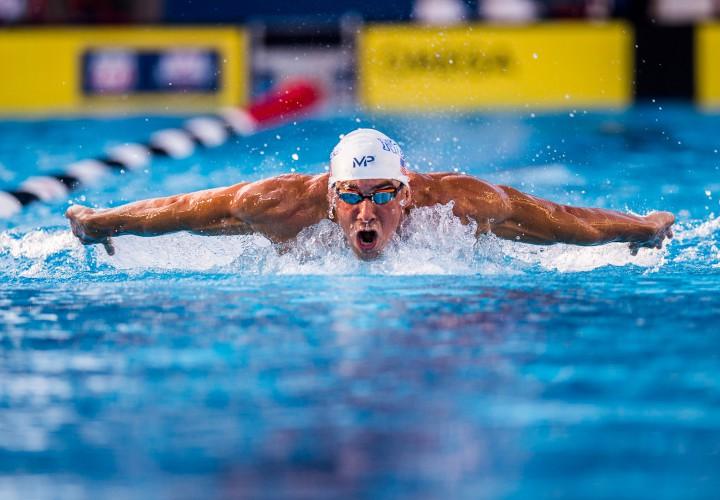 American swimmer Michael Phelps. Photo: Peter Bick, Swimming World Magazine