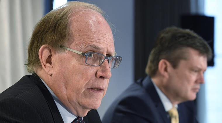 Canadian law professor Richard McLaren, left, and investigator Martin Dubbey are shown at a news conference to present McLaren's findings into allegations of a state-backed doping conspiracy involving the 2014 Winter Olympics in Sochi, Russia, in Toronto, Monday, July 18, 2016. McLaren delivered the second part of his report on Friday. Photo: Frank Gunn/The Canadian Press via AP